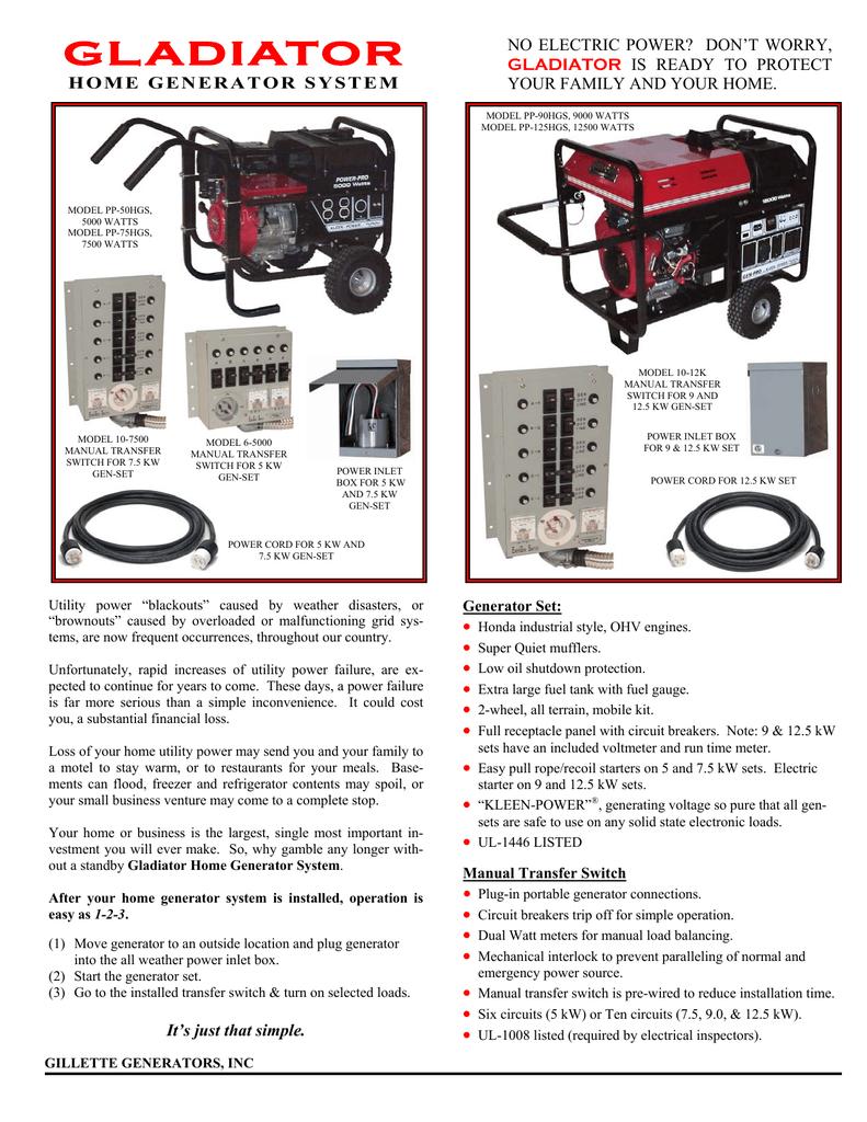 Gillette Generators Gladiator Home Generator Wiring