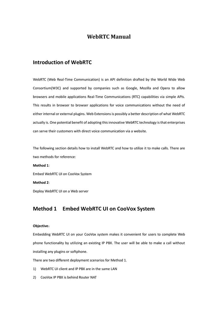WebRTC installation guide | manualzz com