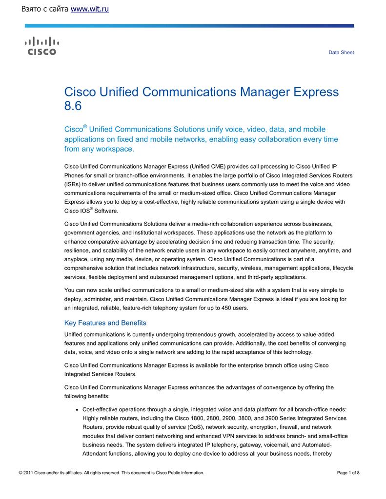 Cisco Unified Communications Manager Express 8 6 | manualzz com