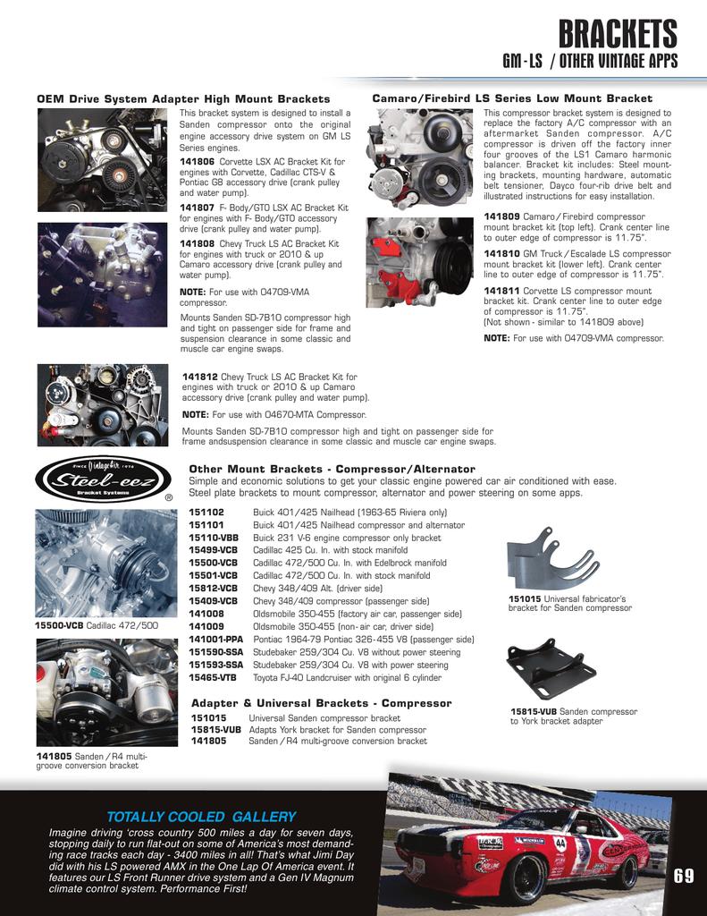 BRACKETS GM-LS / OTHER VINTAGE APPS Camaro/Firebird LS Series Low