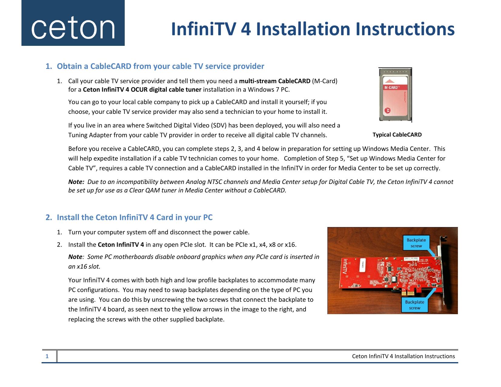 InfiniTV 4 Installation Instructions | manualzz com