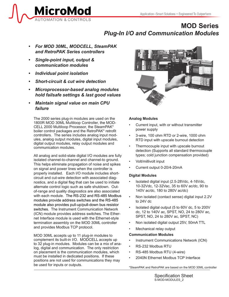 MOD Series Plug-In I/O and Communication Modules   manualzz.com