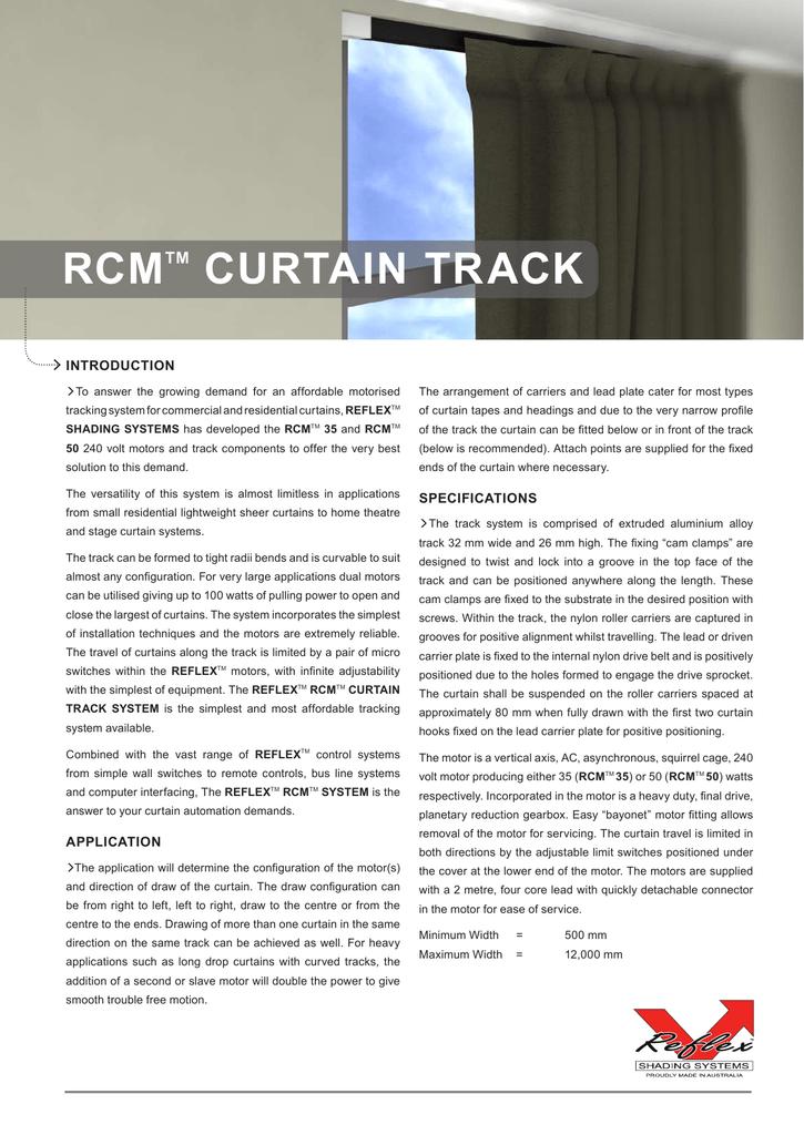 Reflex Shading Systems Australia RCM motorised curtain track