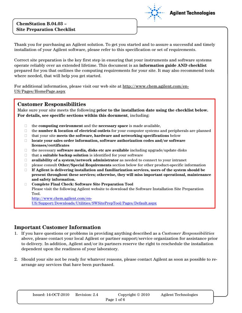 B0403_Chemstation_Site _Preparation_checklist | manualzz com