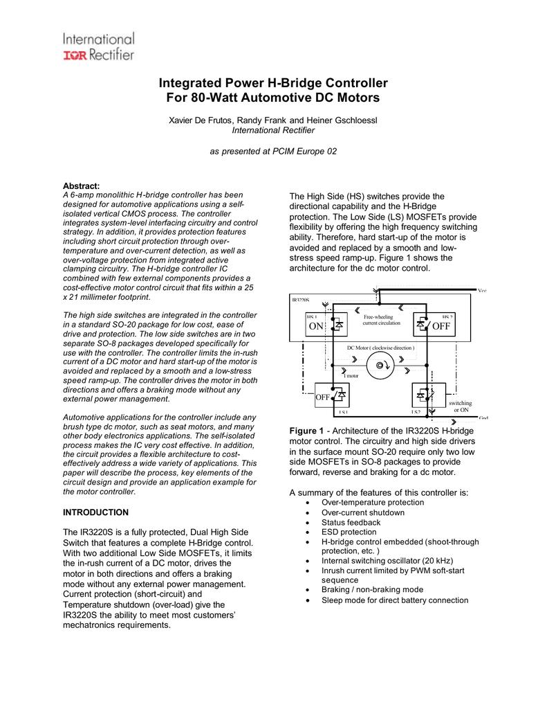 Tp Ir3220pcimeur02 H Bridge Circuit Design