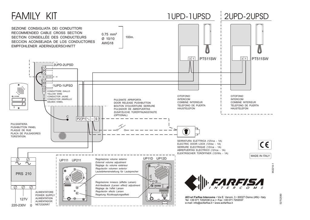 Aci Farfisa 1 2upsd Hard Wired, Intercom Wiring Diagram Pdf
