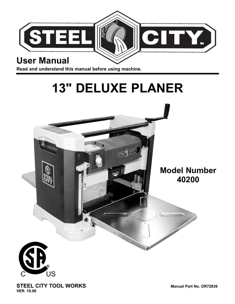 40200 13 Deluxe Planer W Parts Breakdown Manualzzcom