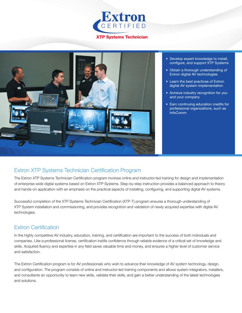 Extron Certified XTP Systems Technician | manualzz com