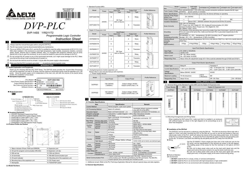 DVP-PLC Instruction Sheet DVP-14SS 11R2/11T2 Programmable