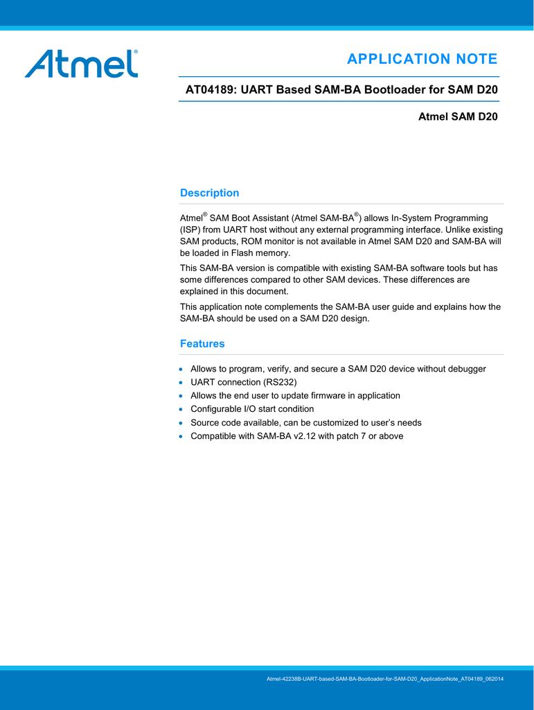 View detail for Atmel AT04189: UART based SAM | manualzz com