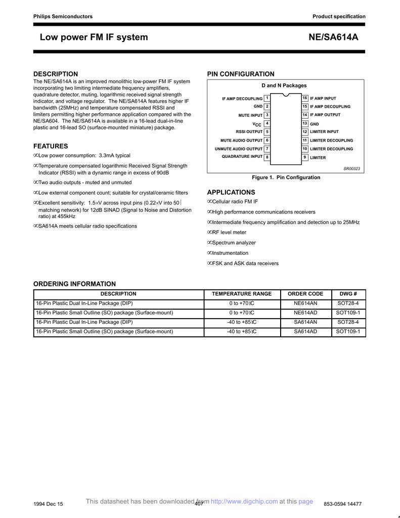 NE614AD Low Power FM/IF Philips SO-16   manualzz com