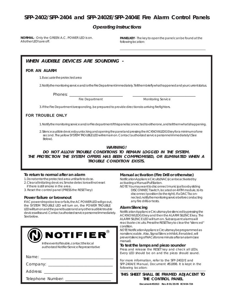 Notifier SFP-2402 SFP-2404 Operating Instructions | manualzz com