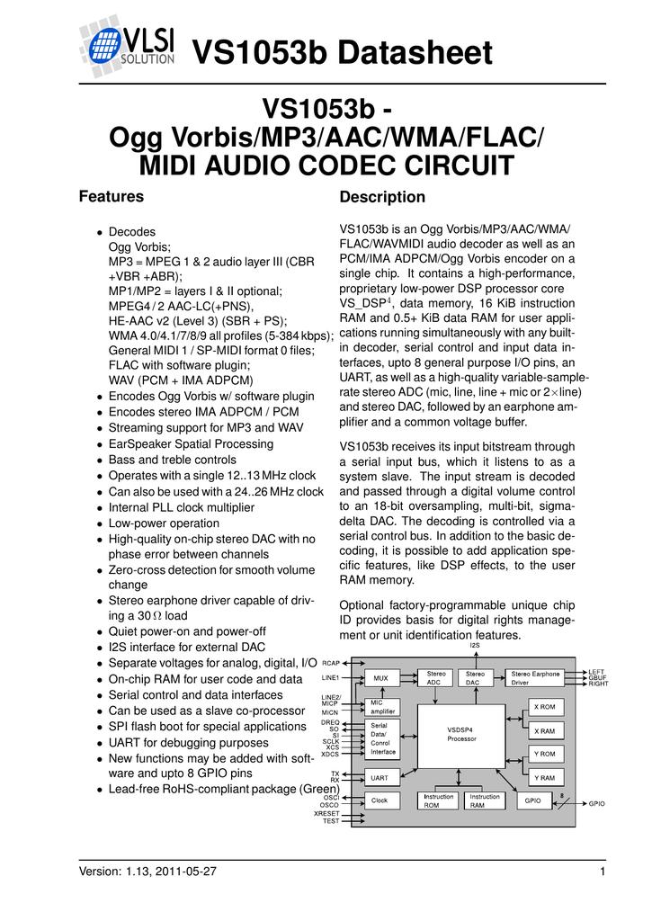 VS1053b Datasheet VS1053b - Ogg Vorbis/MP3/AAC/WMA/FLAC