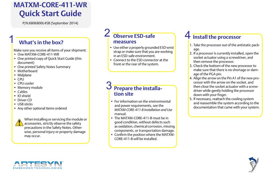 MATXM-CORE-411-WR Quick Start Guide (September 2014