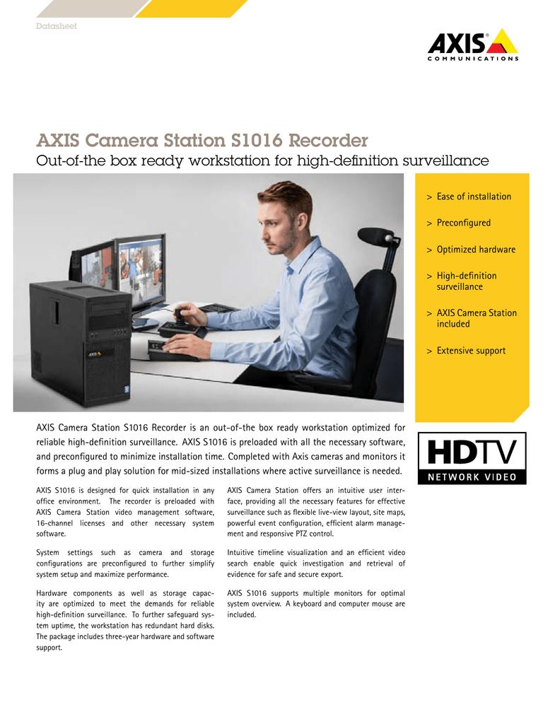 AXIS Camera Station S1016 Recorder | manualzz com