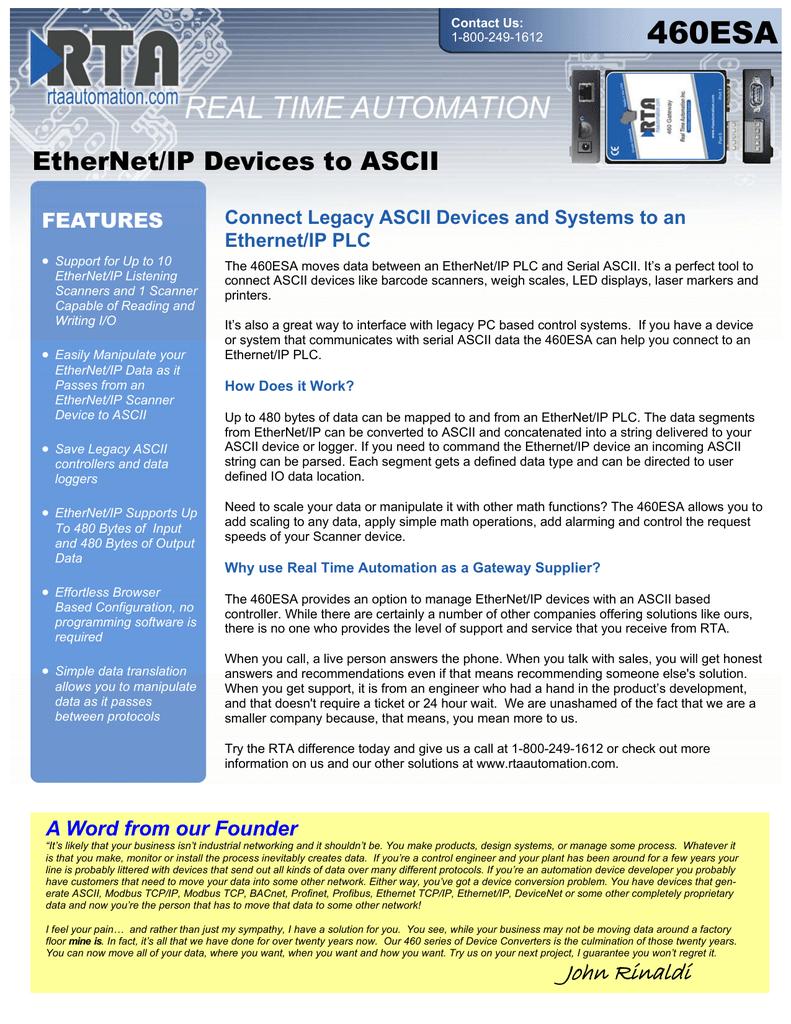 460ESA EtherNet/IP Devices to ASCII FEATURES   manualzz com