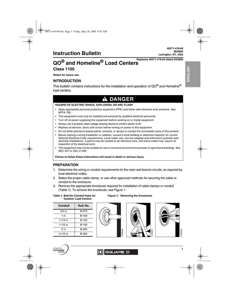 Instruction Bulletin Qo And Homeline Load Centers Class 1100 Publication 40271 419 04 Manualzz