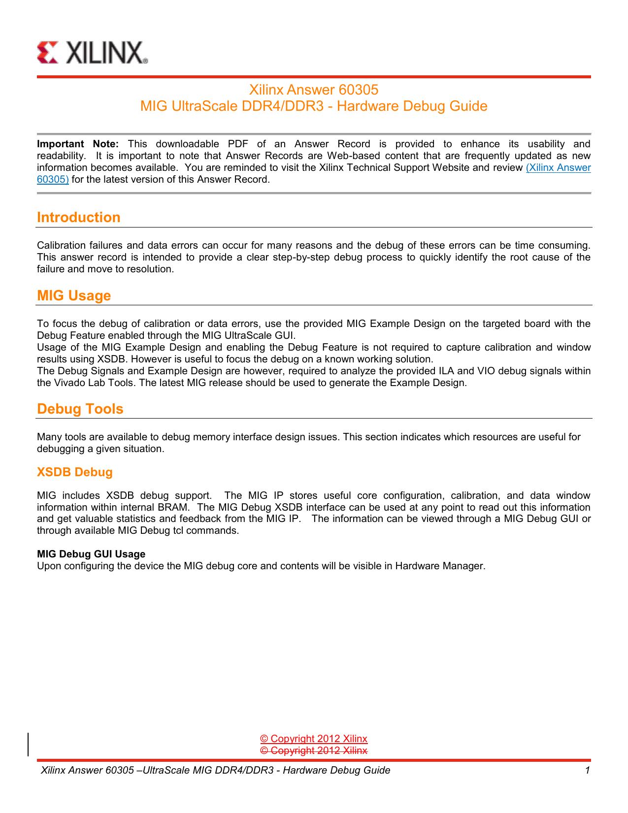 UltraScale MIG DDR4/DDR3 - Hardware Debug Guide (AR60305