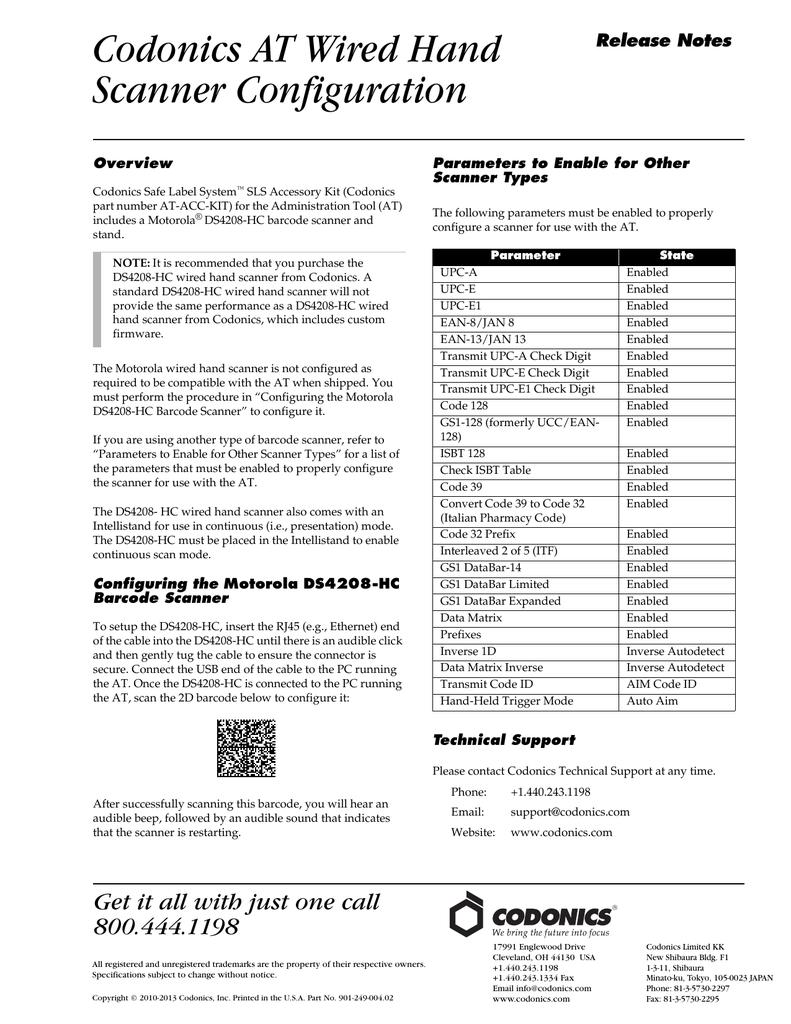 Codonics Safe Label System Hand Scanner Configuration