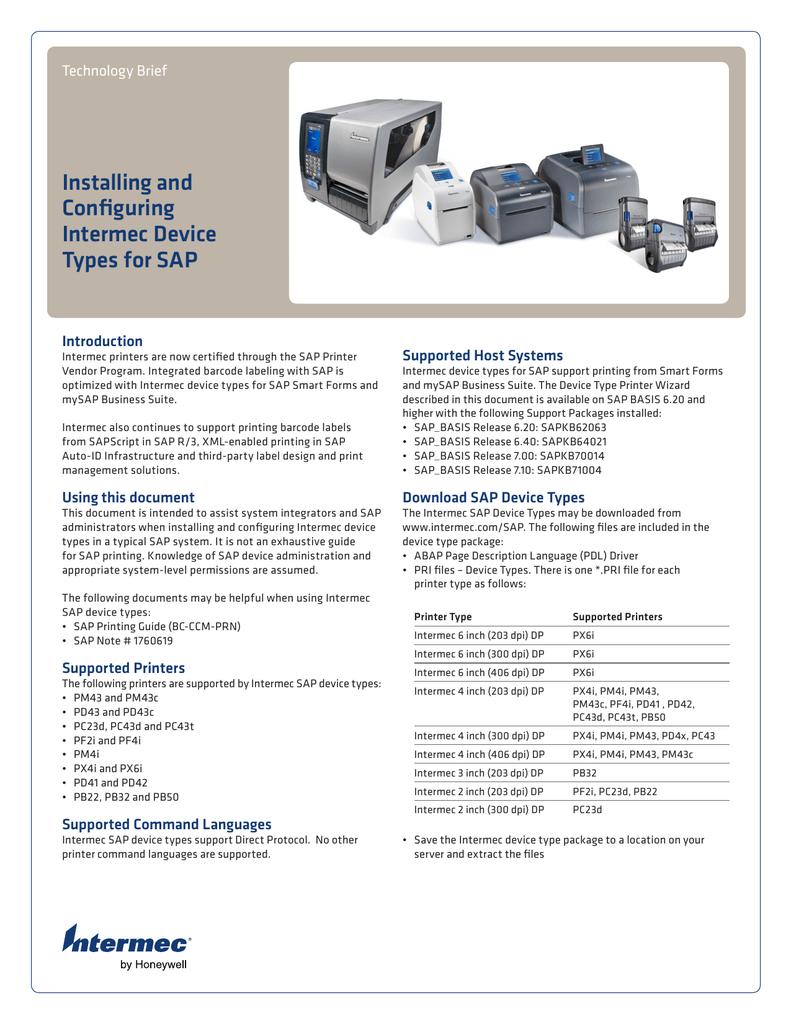 Installing and Configuring Intermec Device Types for SAP | manualzz com