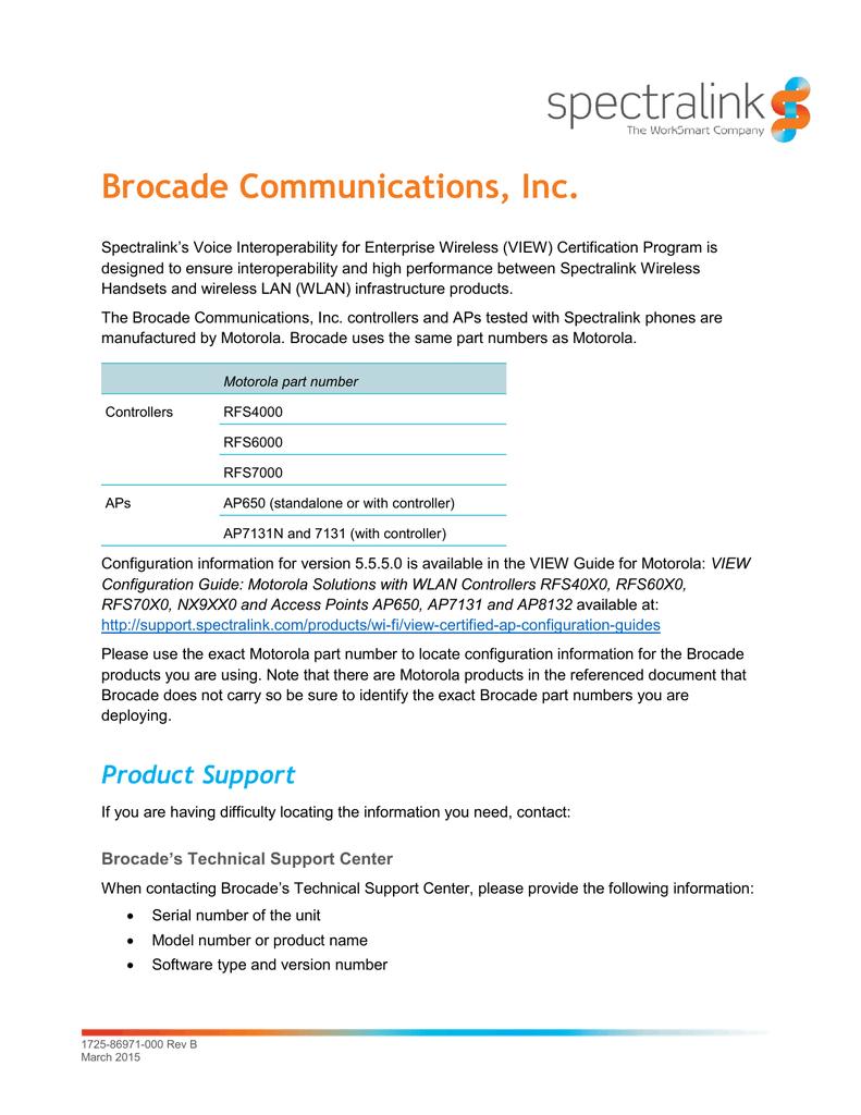 BROCADE Communications, Inc  WLAN controllers: RFS4000, RFS6000 and