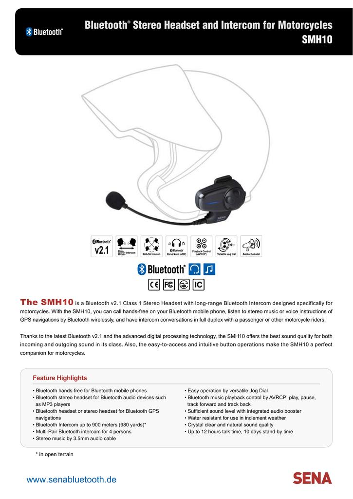 Sena SMH10 Bluetooth Headset Data Sheet, PDF english 368 KB