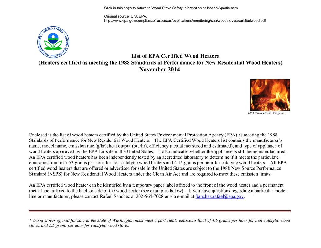 List of EPA-Certified Wood Heaters   manualzz com