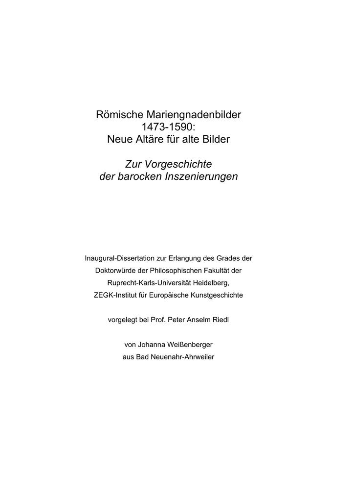 Römische Mariengnadenbilder 1473-1590: Neue Altäre für alte Bilder ...