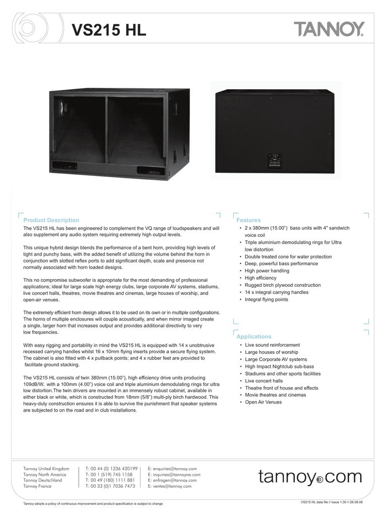 VS215 HL Product Description Features | manualzz com