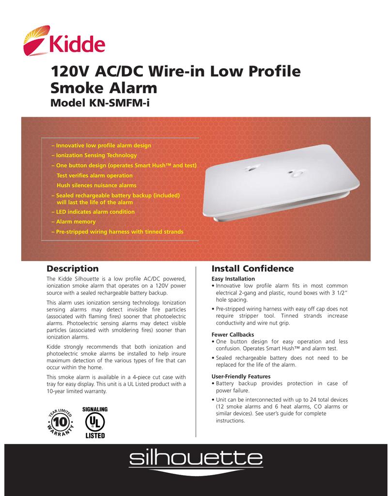 120v Ac Dc Wire In Low Profile Smoke Alarm Model Kn Smfm I Manualzz