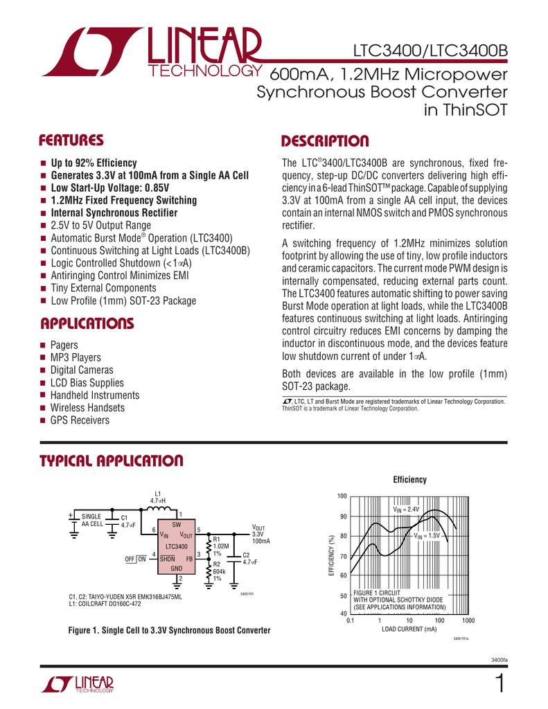 5X LTC3400ES6 LTWK 600mA 1.2MHz Micropower Synchronous Boost Converter SOT23-6