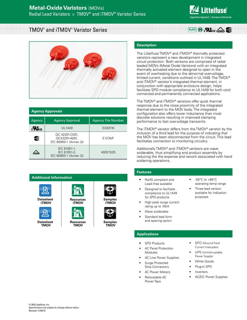 Varistors THERMALLY PROTECTED VARISTOR 14MM