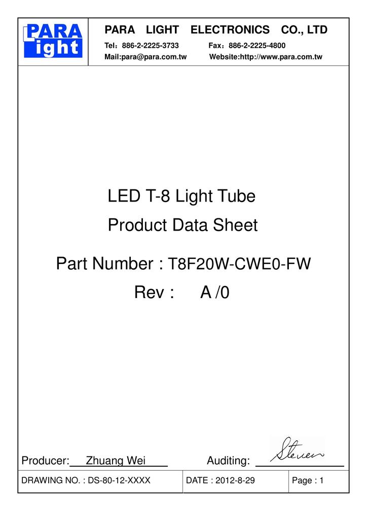 80 Tube Datasheet
