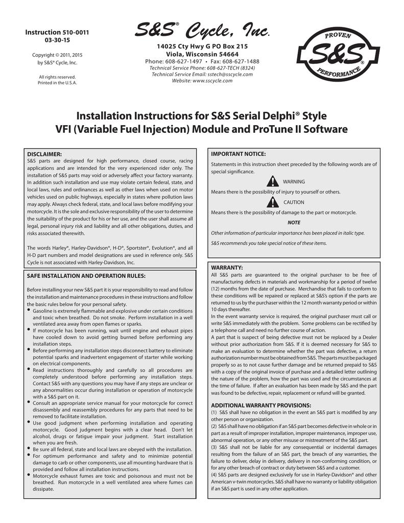 510-0011 Serial Delphi VFI and ProTune II Software 20150401