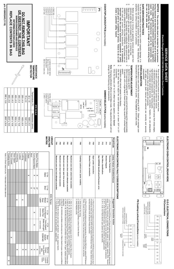 NOTICE SAFE SERVICING PRACTICES p/n 316905245 (1110