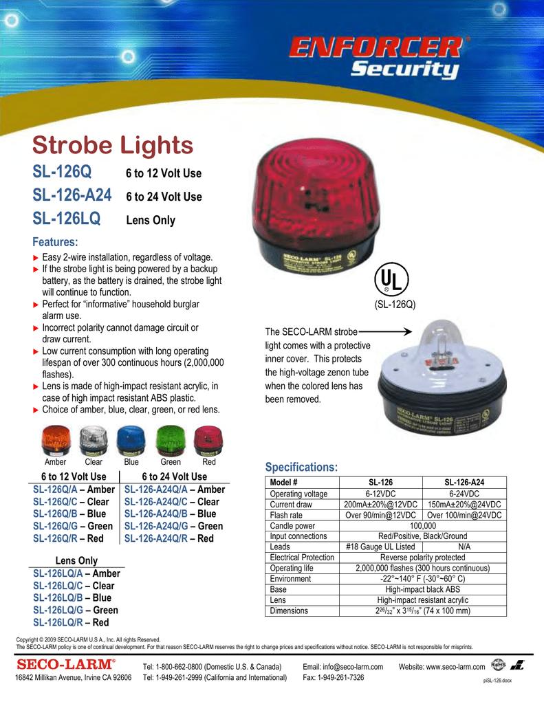 12VDC Green Lens 2 Pack Seco-Larm Enforcer Xenon Strobe Light SL-126Q//G