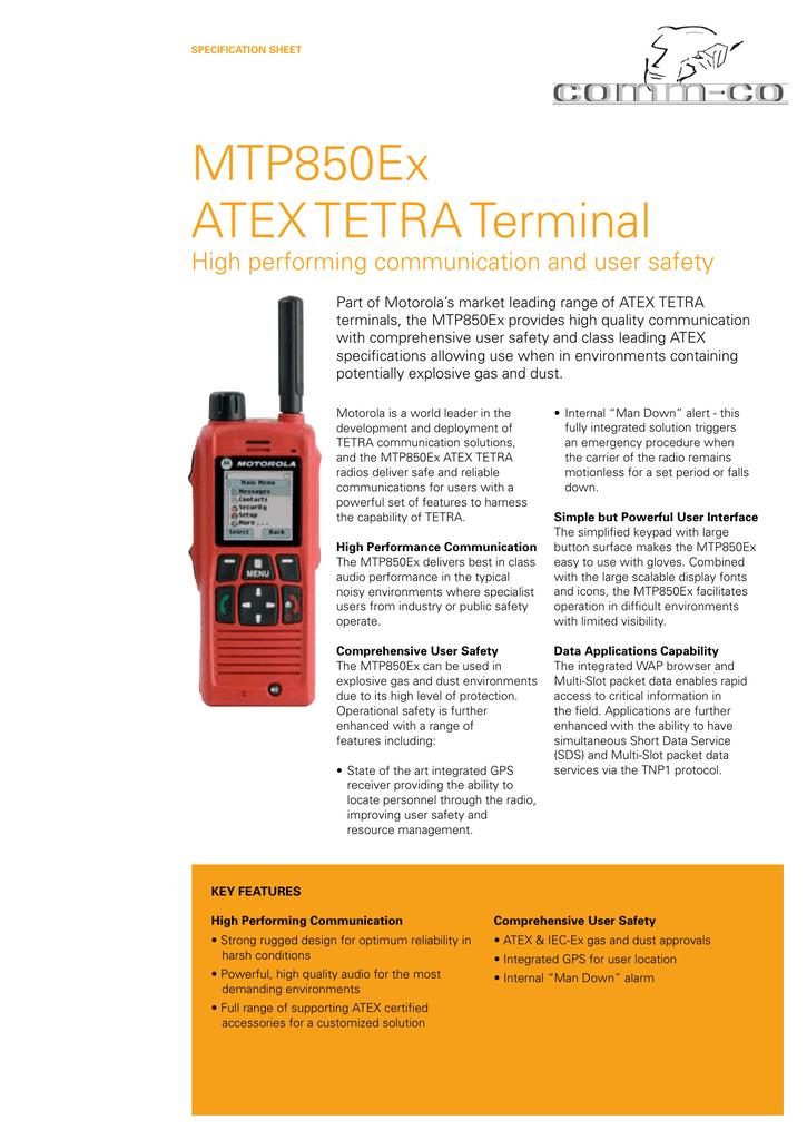 Motorola Portable TETRA Radio MTP850Ex.pdf   Manualzz