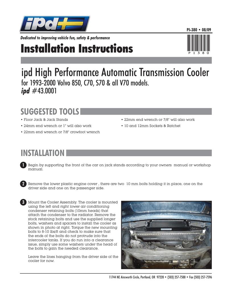 Download PI-380 AUTOMATIC TRANS COOLER.PDF   Manualzz