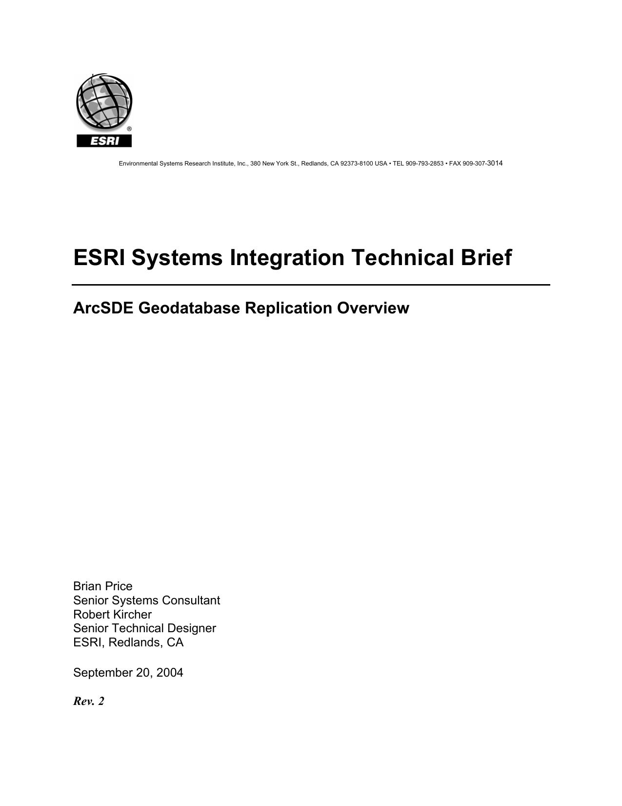 ArcSDE Geodatabase Replication Overview | manualzz com
