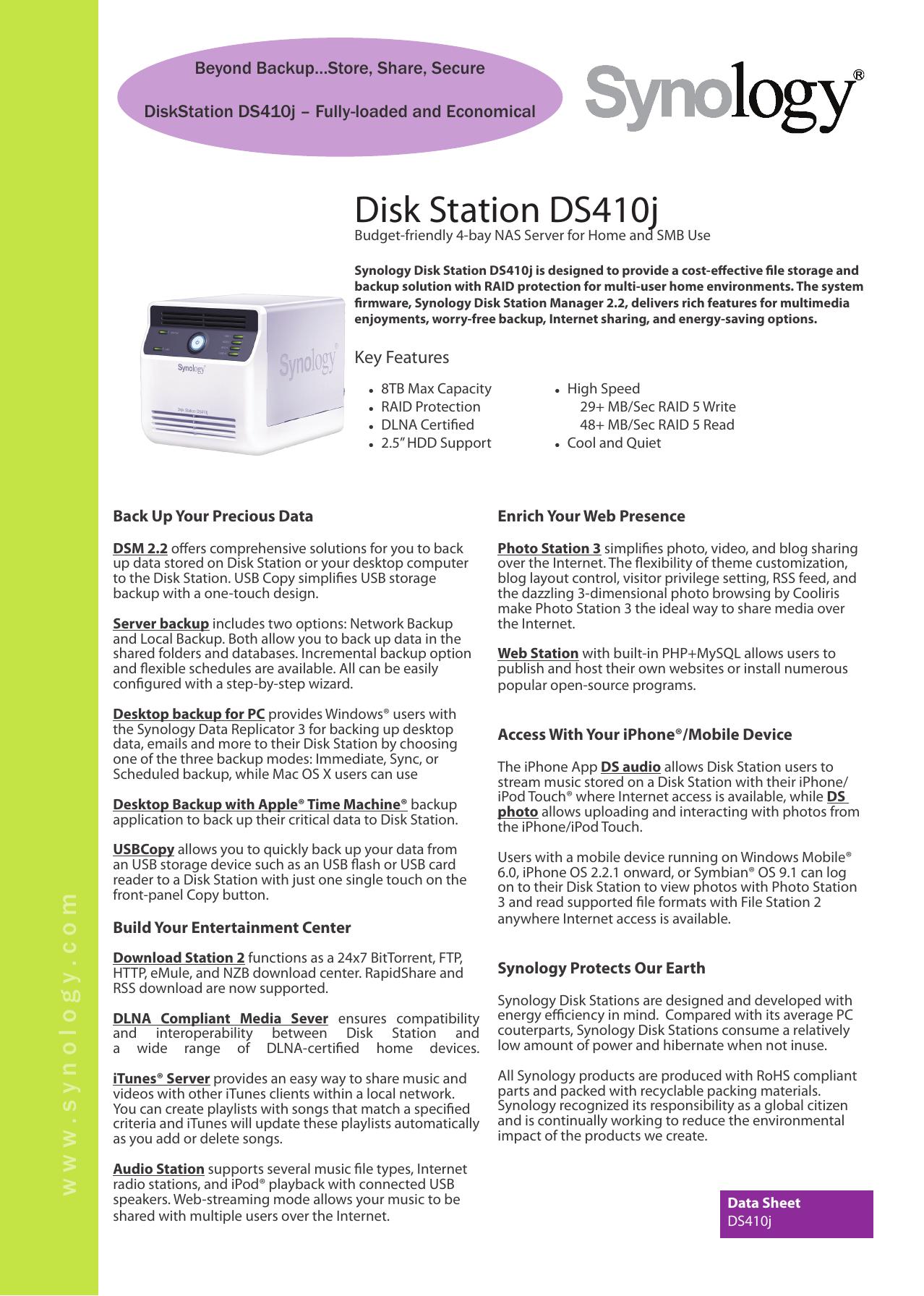 Disk Station DS410j | manualzz com