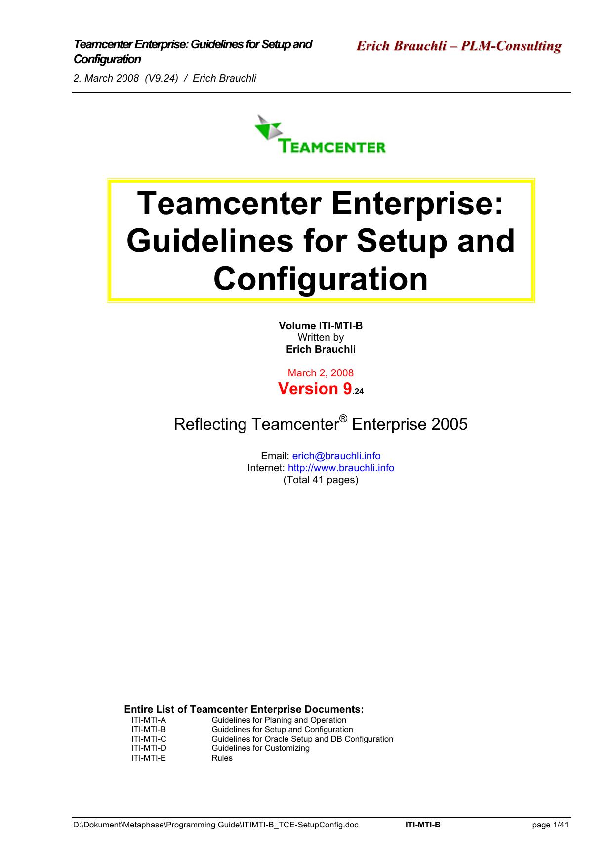 Teamcenter Enterprise - Erich Brauchli — IT | manualzz com