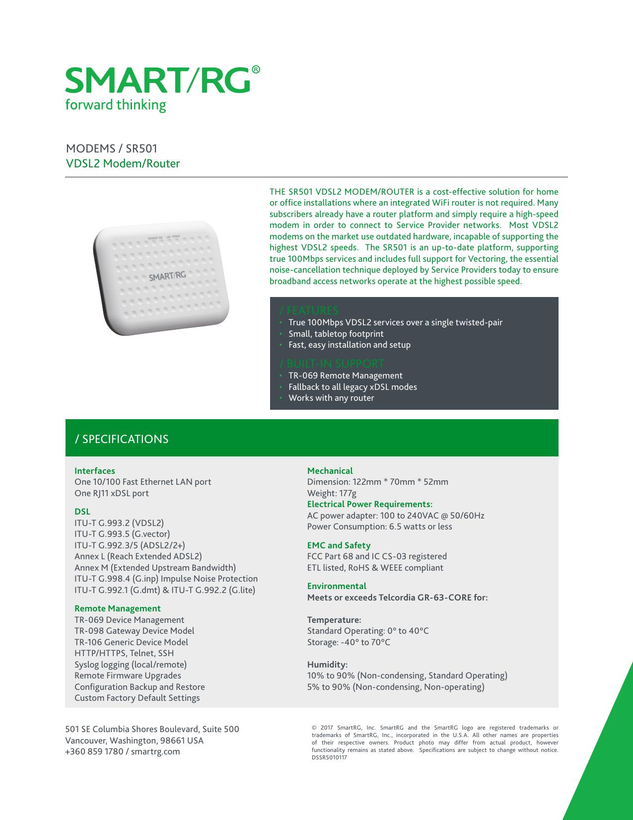 SPECIFICATIONS MODEMS / SR501 VDSL2 Modem | manualzz com