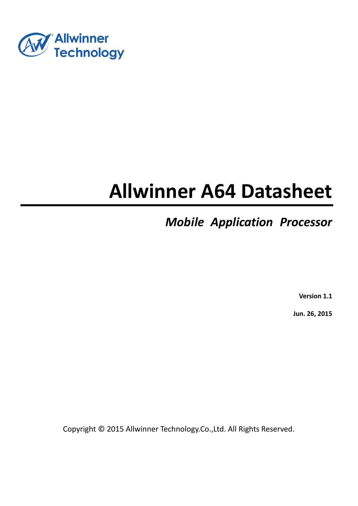 Allwinner A64 Datasheet | manualzz com
