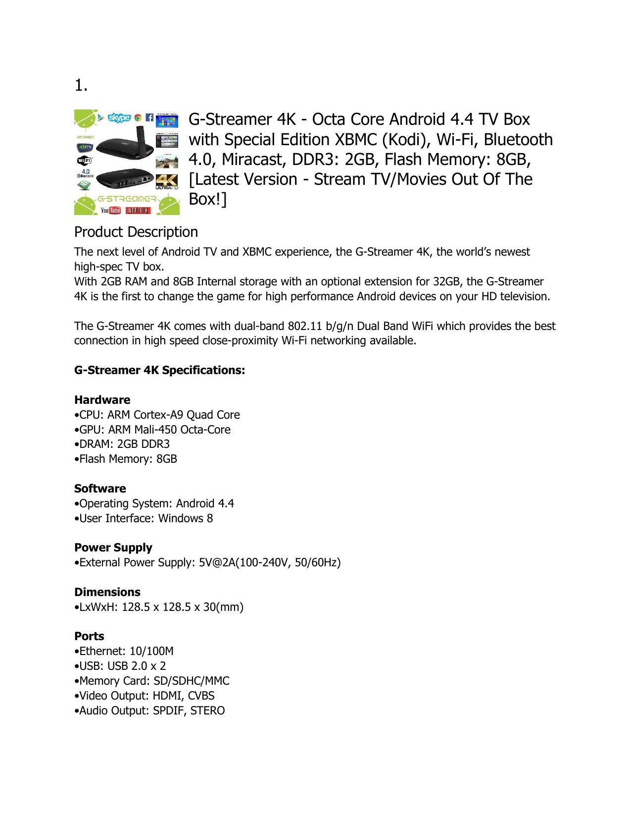 Octa Core Android 4 4 TV Box with Special Edition XBMC (Kodi