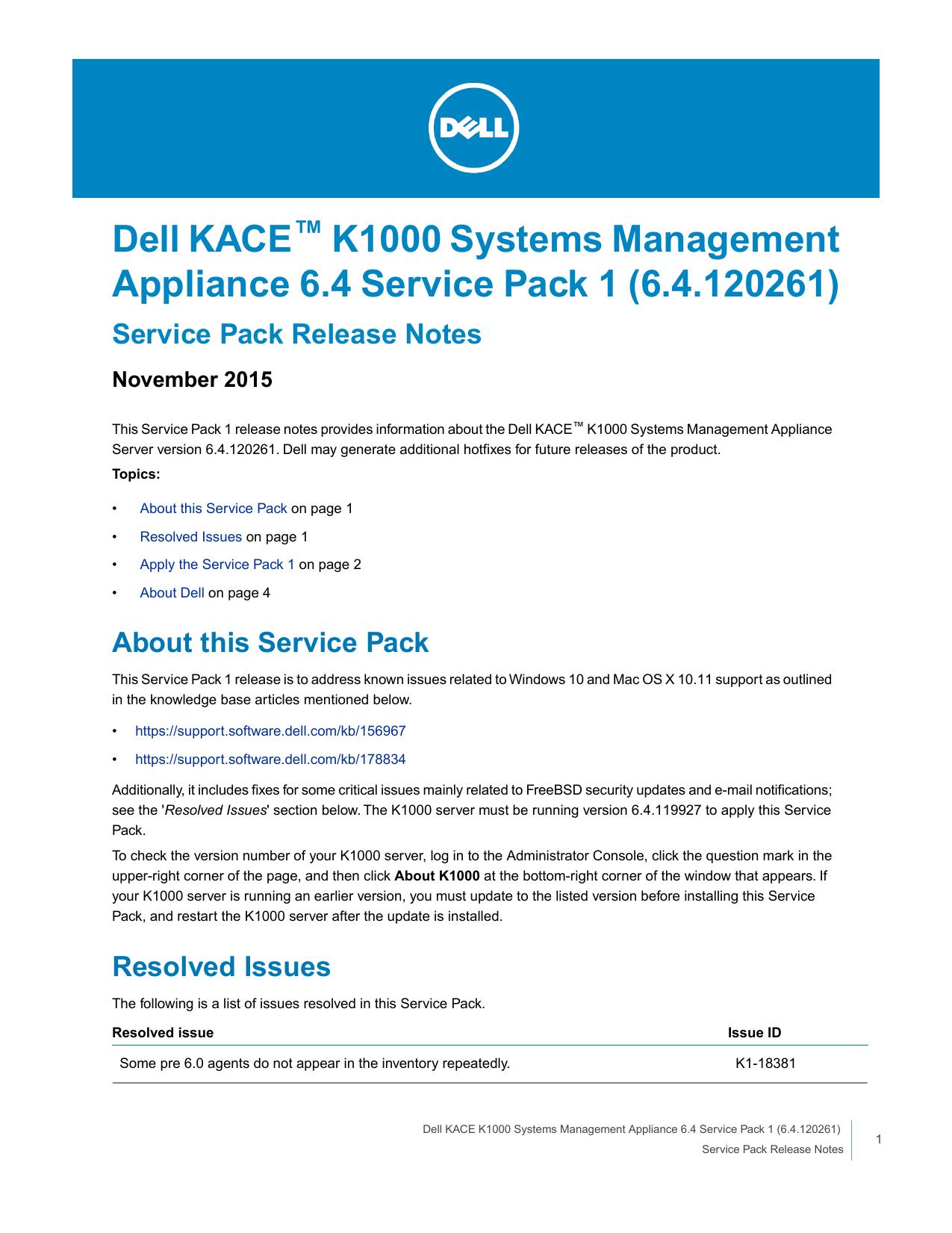 Dell KACE™ K1000 Systems Management Appliance 6.4 Service  b4d6933cf