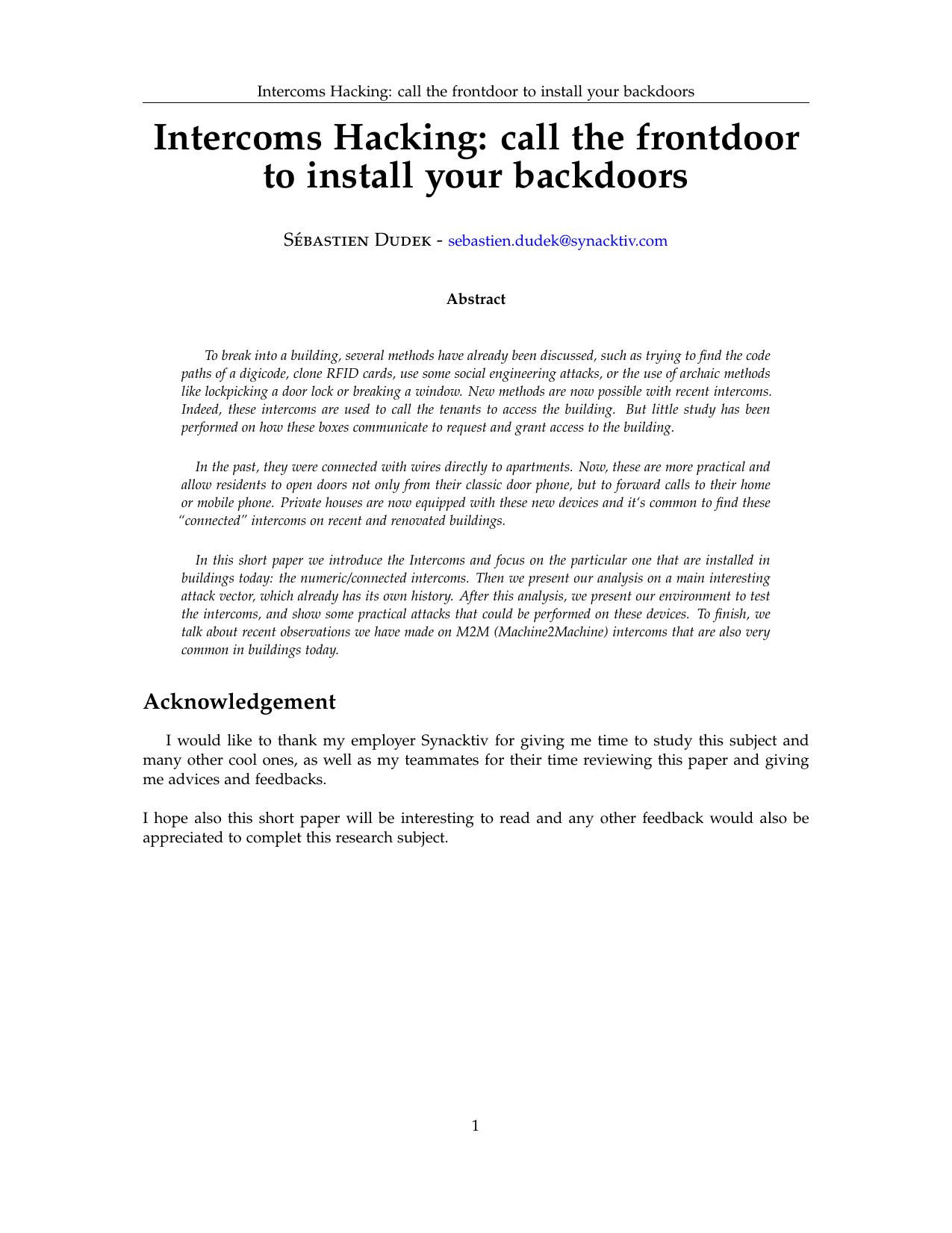 Intercoms Hacking - Schedule 33  Chaos Communication