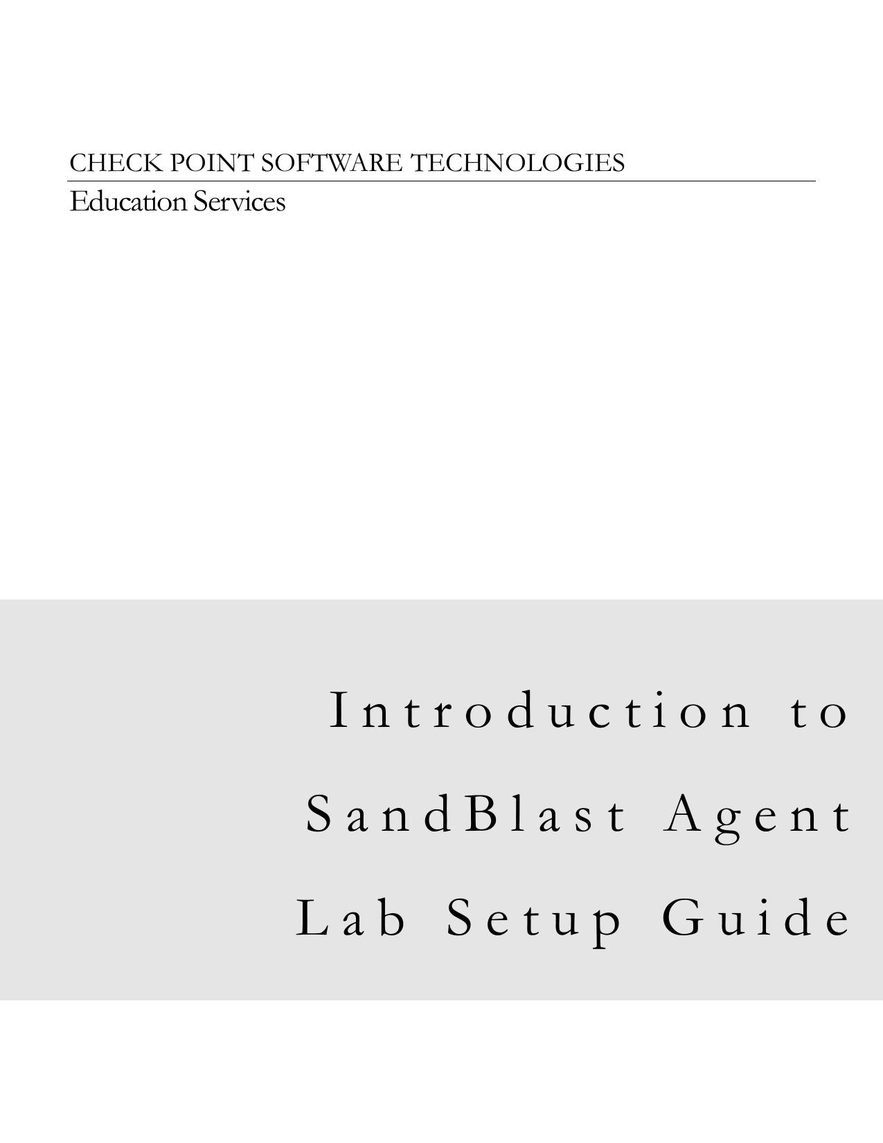 Introduction to SandBlast Agent Lab Setup Guide | manualzz com