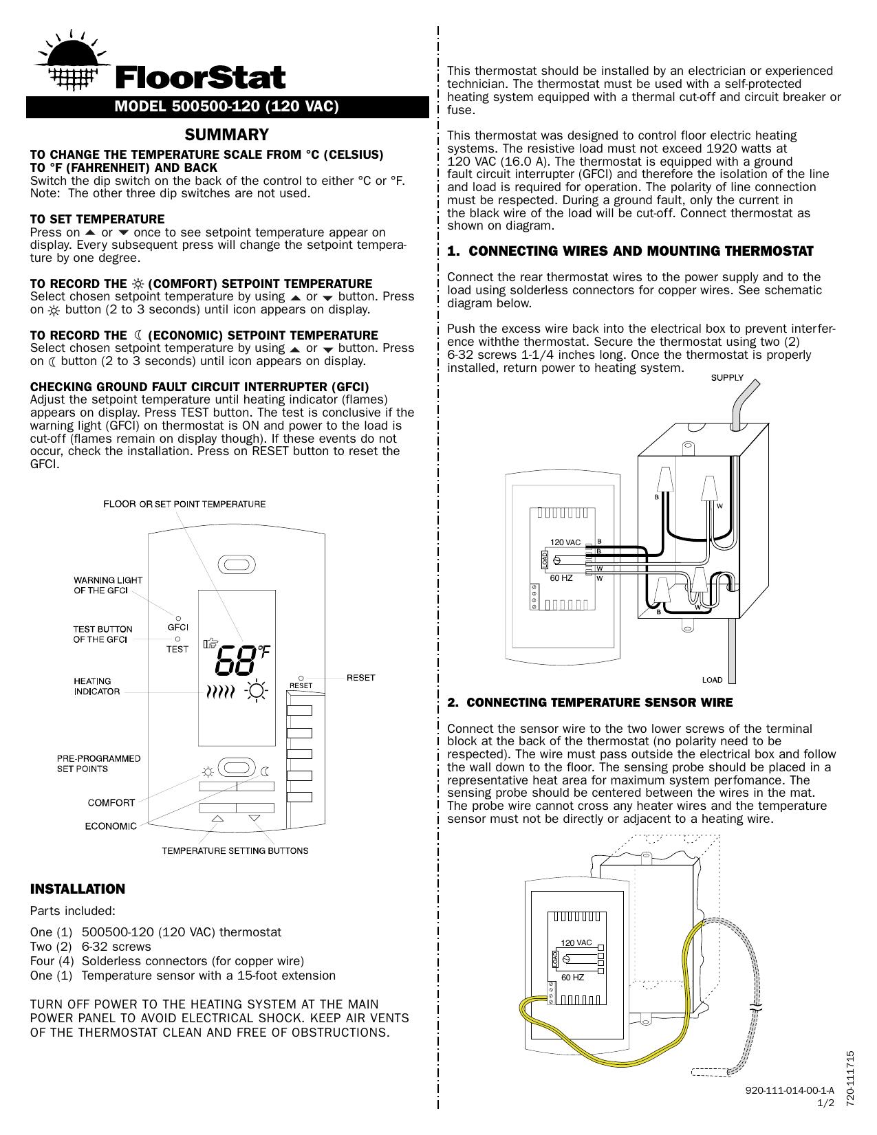 wiring gfi schematic installation view manual warmyourfloor manualzz  view manual warmyourfloor manualzz