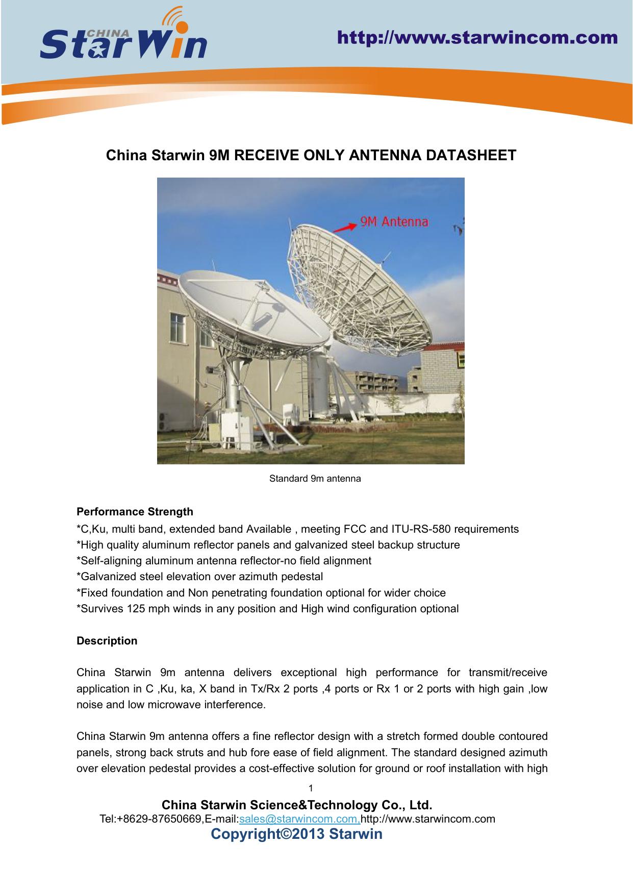 China Starwin 9m Rx Only Antenna Datasheet(Cass Grain) | manualzz com