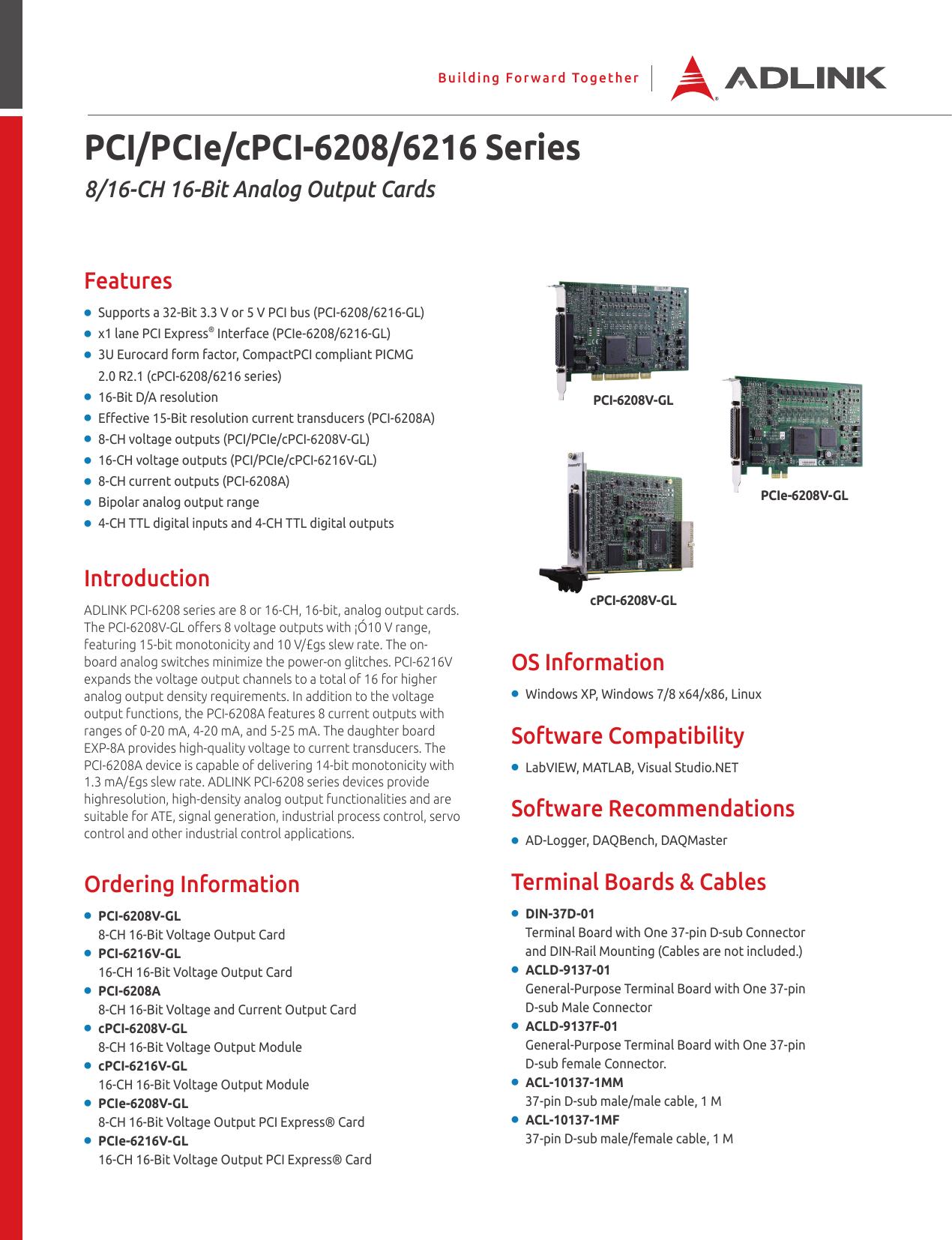 ADLINK PCI-6208/6216 Drivers for Windows XP